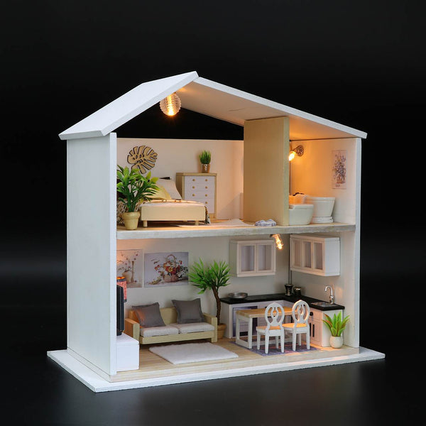 DIY Wooden Miniature Doll House Kits w/ LEDs Miniature doll House Furniture Kits Children Birthday Gifts Handmade Gifts