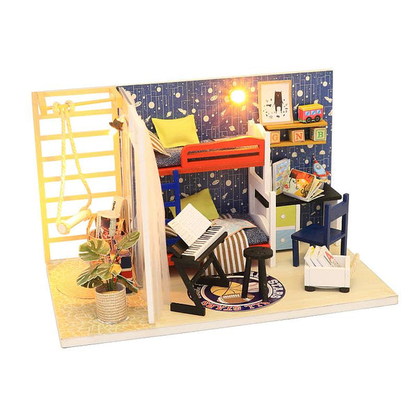 DIY Wooden Miniature Dollhouse Room Kits Toys Gifts for Boy and Girl Fun Crafts Doll House Furniture Kits