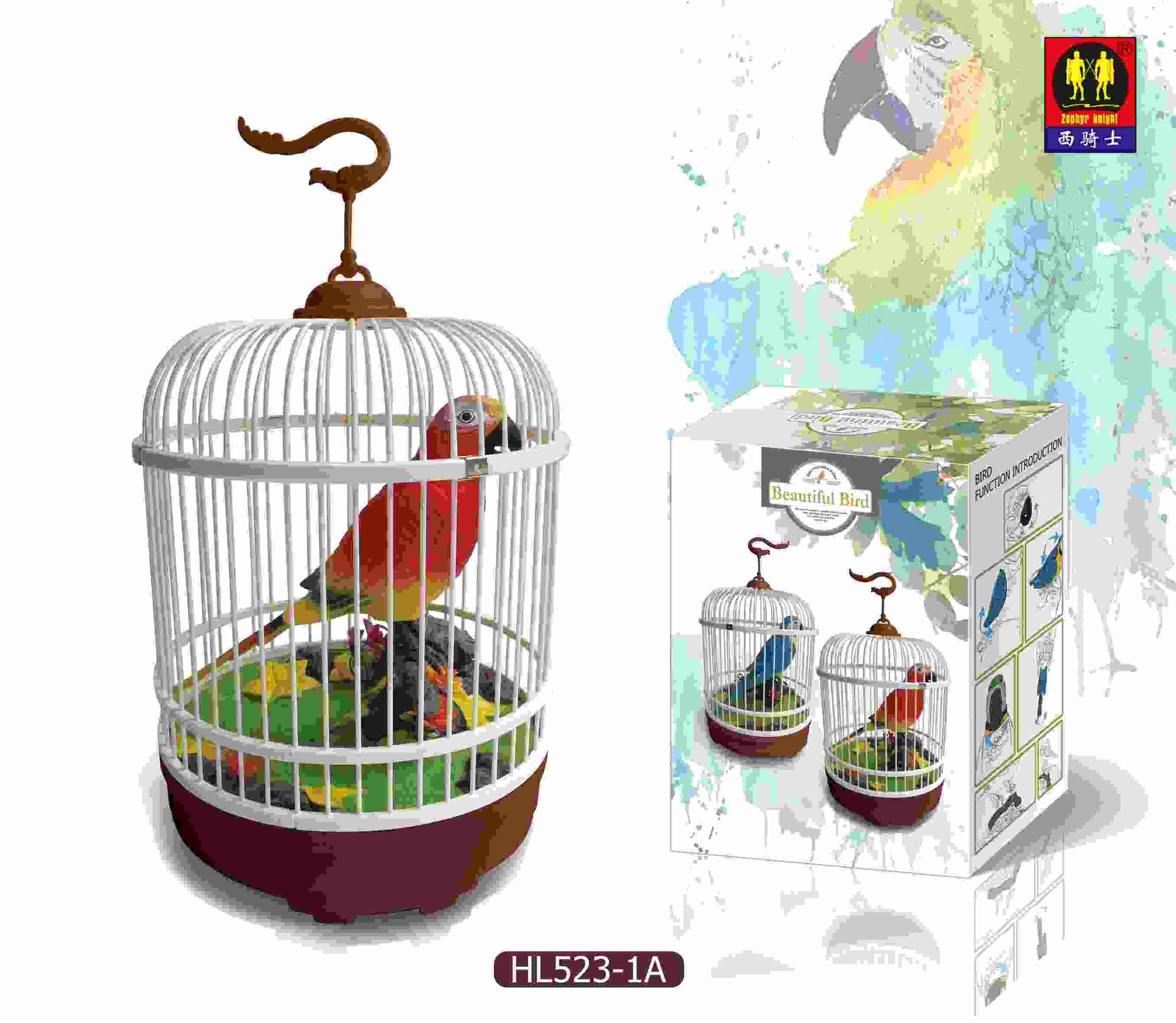 The Ensemble Birds Red Electronic Voice-Activated Parrot Bird in Cage Electrical Simulation Bird Singing Toy Bird