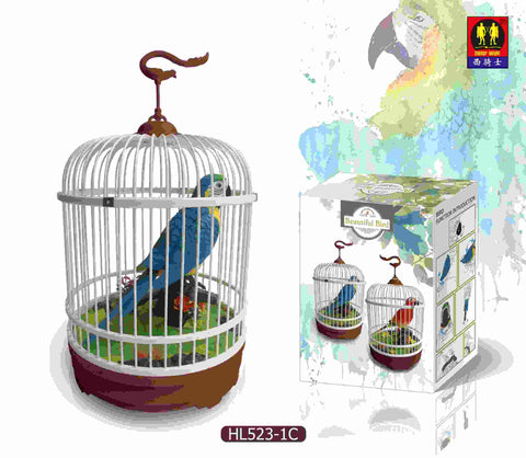The Ensemble Birds Light-Activated Parrot Bird in Cage Light Control Function Bird Electrical Simulation Light Sensor Bird
