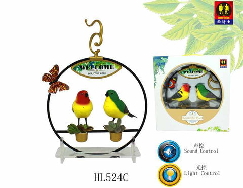 Sound Control & Light Control Function Bird with Plastic Stand