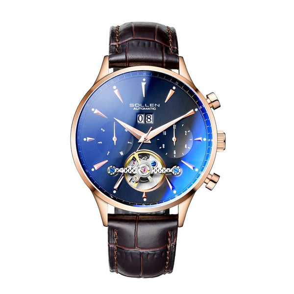 SOLLEN Men's Automatic Mechanical Calendar Leather Watch