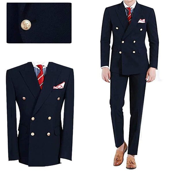 TPSAAD Men's Navy Blue Double Breasted 2 Pieces Slim Fit Tuxedo