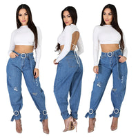Women's High Waist Denim Skinny Ripped Jeans