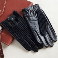 Men Knitted + Leather Breathable Unlined Fashion Gloves