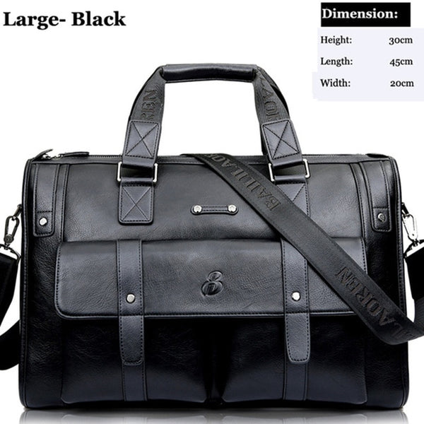 Men's Leather Black Briefcase Large Laptop Travel Bag