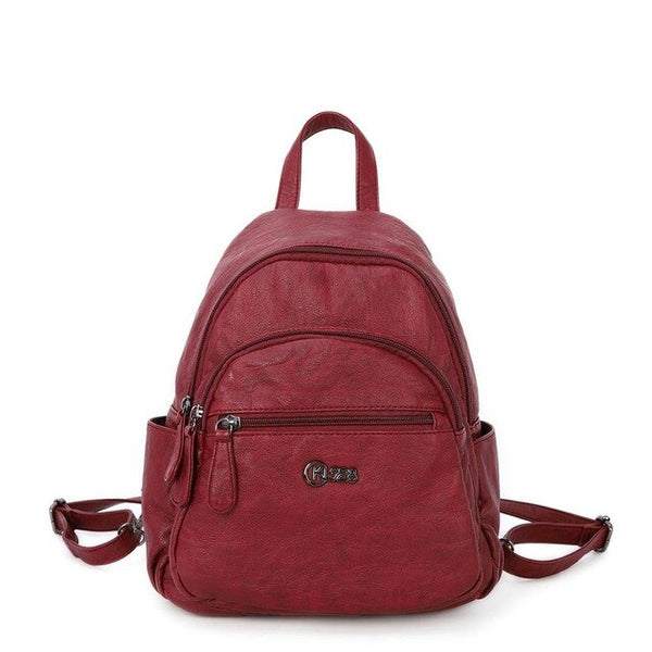 KL928 Women's Solid Quality Soft School Bag With Multi Pockets