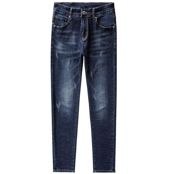 WWKK Men's Skinny Slim Fit Blue Denim Biker Stretch Jeans