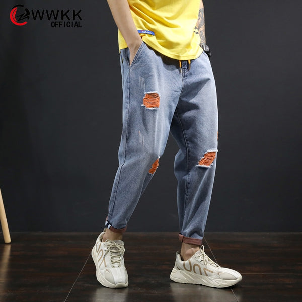 Men's Loose Cotton Ankle-Length Stretch Jeans