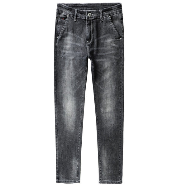 Men's Fashion Thin Jeans Business Casual Stretch Slim Denim Black-Blue Jeans