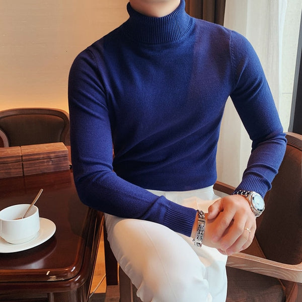 Men's Fashion High Neck Long Sleeve 10 Colors Sweater