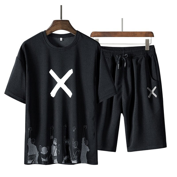 Men's Solid Sports Suit 2 Piece T-Shirts+Shorts