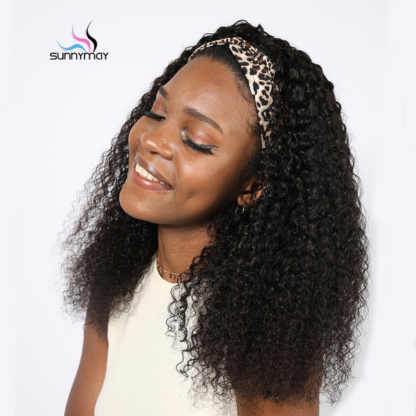 Curly Scarf Headband Full Machine Made Afro Wig