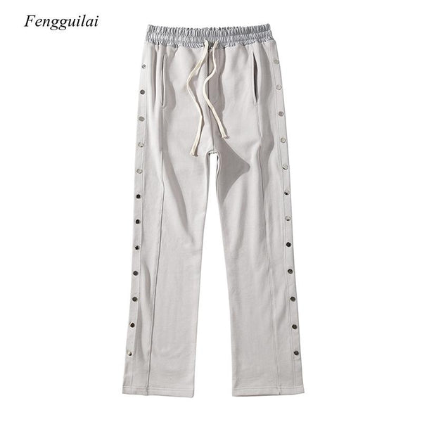 Double Side Button Jogger Sweatpants Men Elastic Wasit Streetwear Loose Casual Hip Hop Trousers Wide Leg Harajuku Cargo Pants