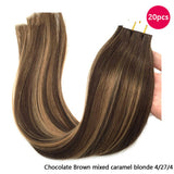 "20 Piece Tape In Straight Human Hair Extensions 14""-24"" Chocolate Brown"