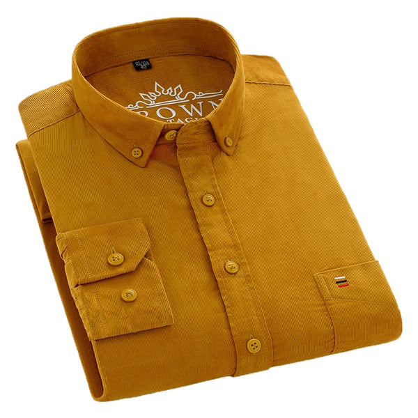Men's Corduroy Pure Cotton Long Sleeve yellow Button Down Shirt