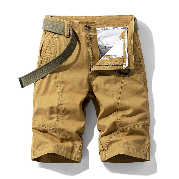 Men's Baggy Multi Pocket Military Cargo Cotton Khaki Shorts