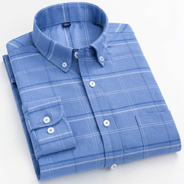 Men's Pure Cotton Oxford Striped Plaid Business Pocket Shirt
