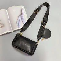 Women's Genuine Cow Leather Composite Black Crossbody Bag