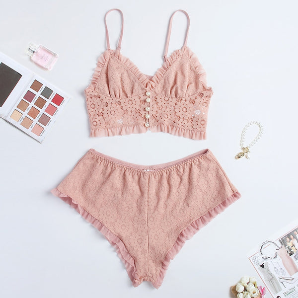 Women's Casual Lace Ruffle Shorts Lingerie Set
