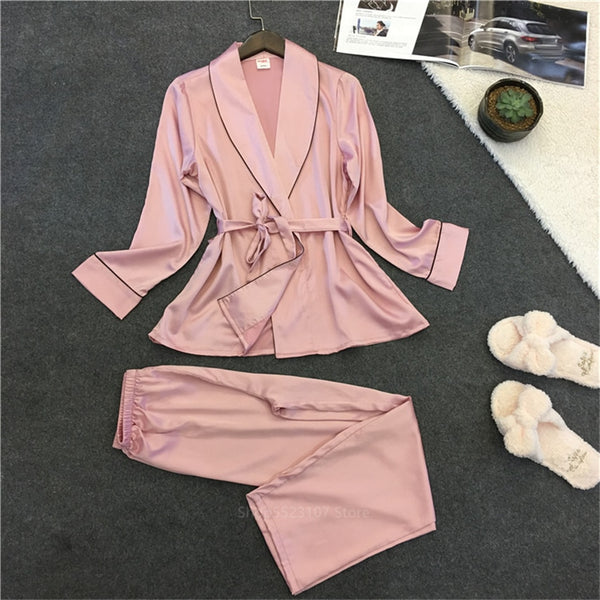 Women's Satin Silk Pink Long Sleeve Loungewear 2 Piece Pajama Set