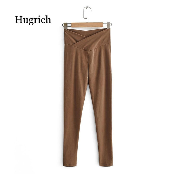 Women's Skinny Solid Elastic High Waist Pure Cotton Ankle-Length Leggings
