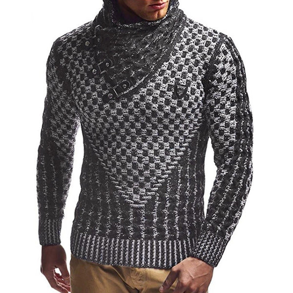 Men's Stitching Color High-Neck Slim Sweater
