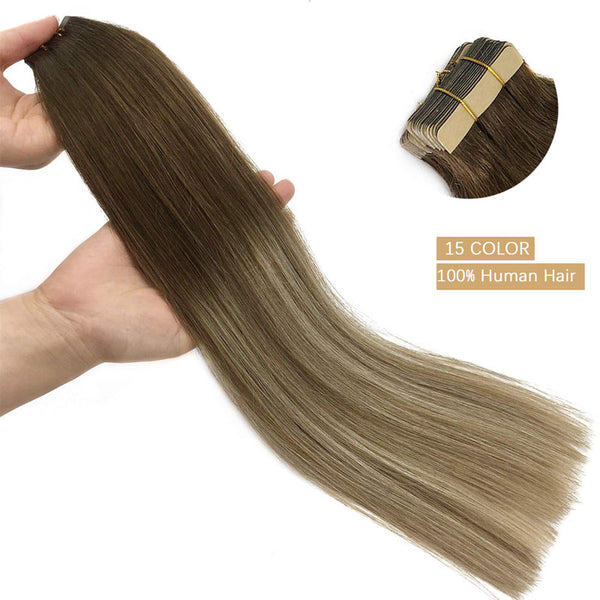 20 Piece Blonde-Brown-Black Adhesive Tape in Human Hair Extensions