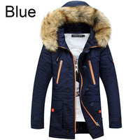 Men's Big Fur Hooded Thicken Overcoat