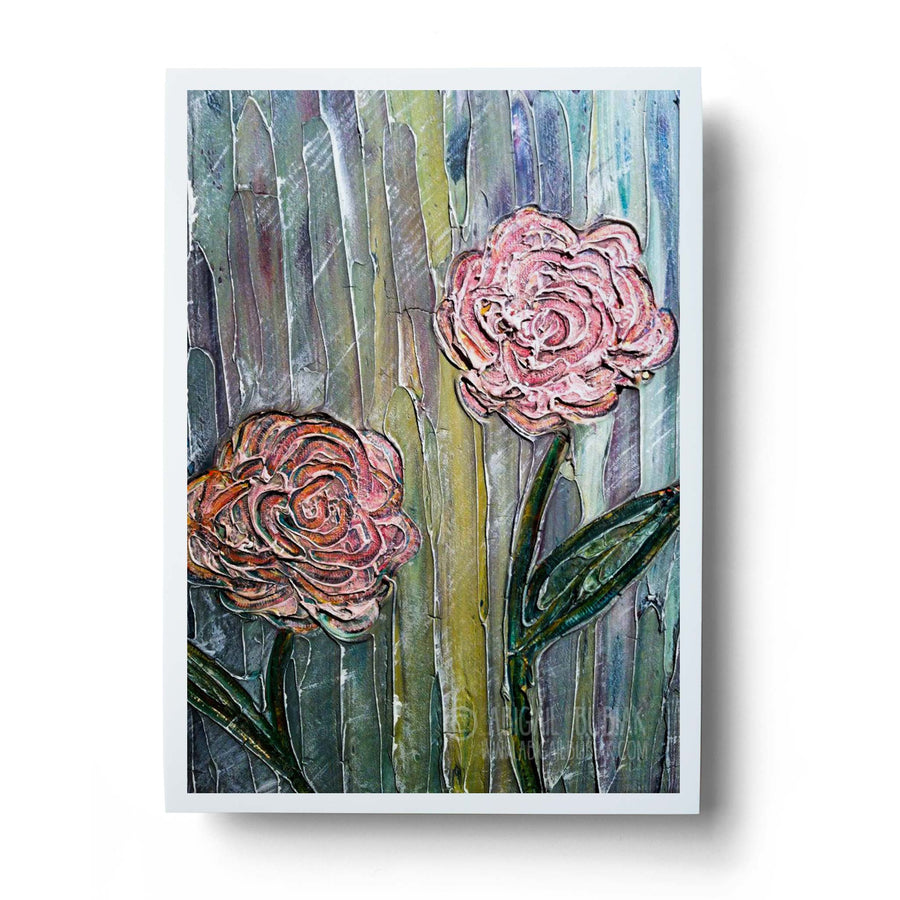 Abstract flowers textured painting art print