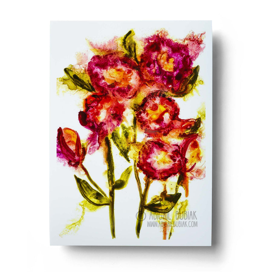 Abstract red flowers watercolour wall art print