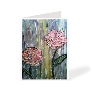 Textured flowers painting greeting card