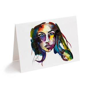 colourful abstract watercolour face greeting card