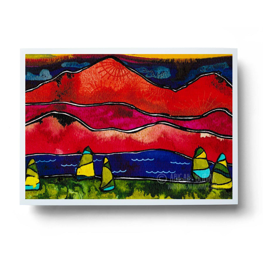 colourful abstract mountains landscape wall art print