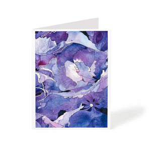 abstract flowers purple watercolour floral greeting card