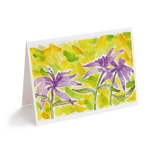 colourful abstract watercolour flowers art greeting card