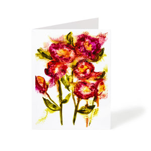 abstract red flowers watercolour handmade greeting card