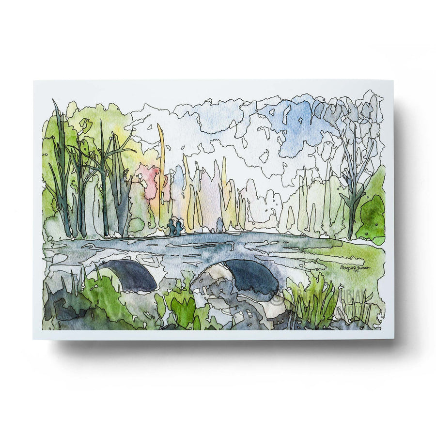 abstract watercolour bridge wall art print