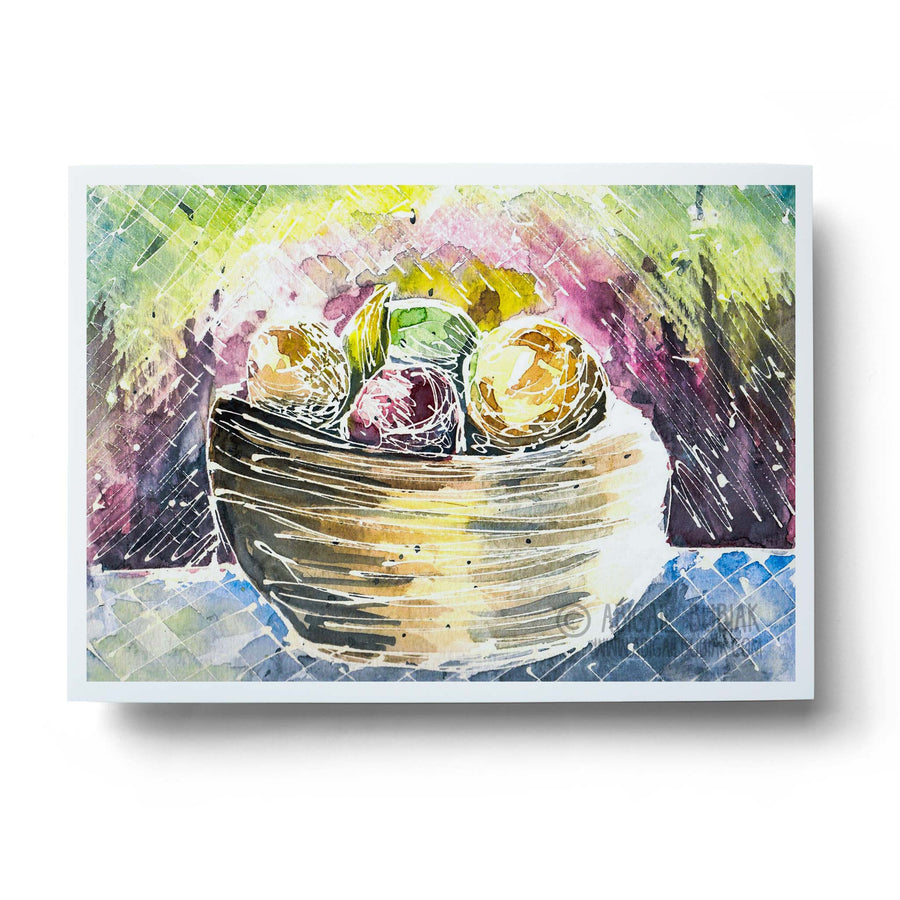 abstract watercolour fruit bowl still life wall art print