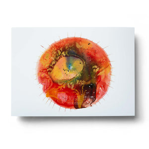 red abstract mandala watercolour wall art print