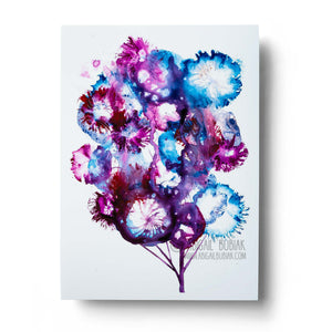 Blue and purple abstract tree watercolour wall art print
