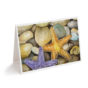 watercolour starfish on beach with shells art greeting card