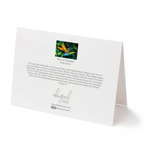 back of tropical flower bird of paradise art greeting card