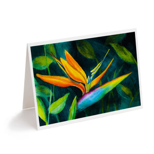 watercolour bird of paradise flower greeting card