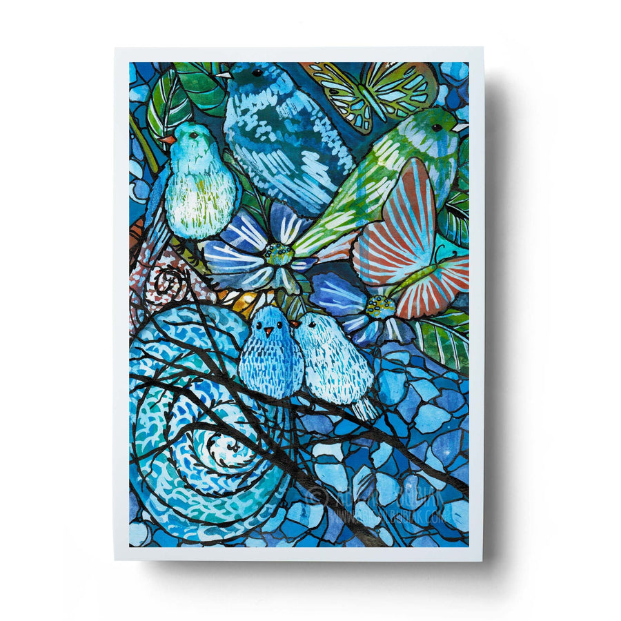 blue abstract birds and flowers watercolour wall art print