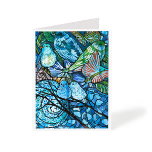 watercolour abstract birds and flowers art greeting card