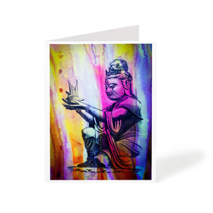 tranquil watercolour buddha statue art greeting card