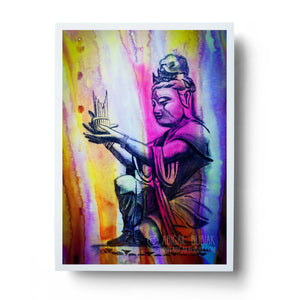 watercolour buddha statue tranquil meditation wall art print