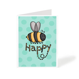 Cute illustrated bumble bee art greeting card saying bee happy