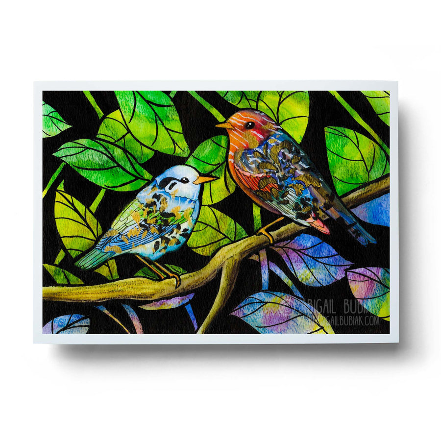 Colourful abstract birds watercolour art print
